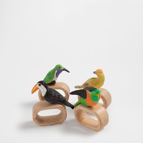 Кольцо салфеточное 'Птица' (набор из 4 шт.) - Салфетницы - СТОЛОВАЯ   Zara Home Российская Федерация