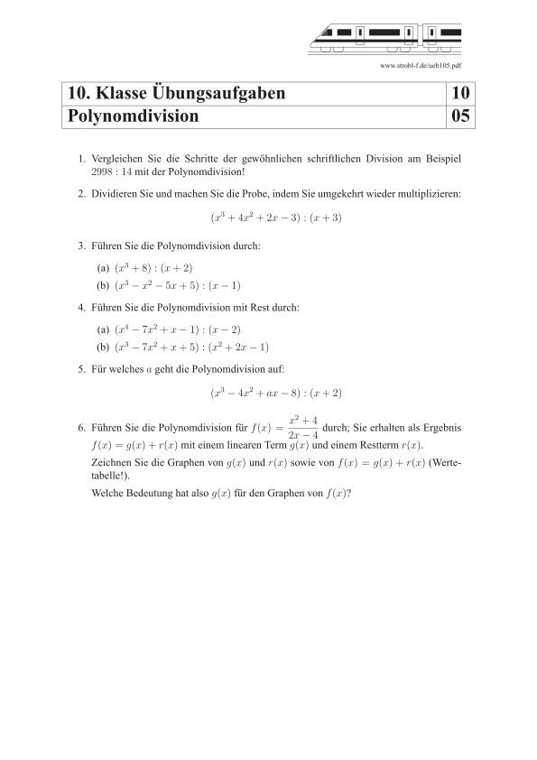 Polynomdivision Ubungen Und Aufgaben Mit Losungen Tagliches Mathematik Mathematik Matheaufgaben