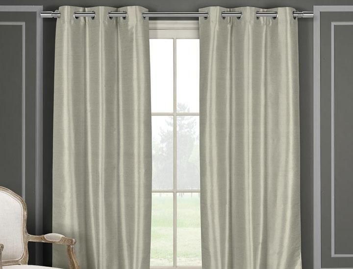 Heavy Faux Silk Blackout Thermal Curtains (2 or 4 Panels)