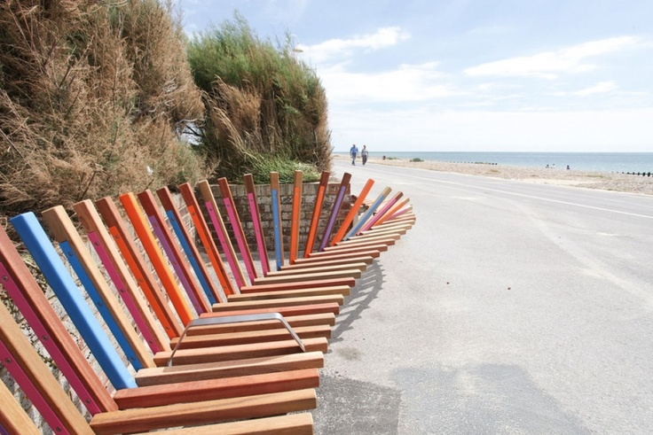 The longest bench in Britain was opened to the the public in Littlehampton, West Sussex on the 30th July 2010. The bench seats over 300 people along Littlehampton's promenade, overlooking the town's award-winning Blue Flag beach.