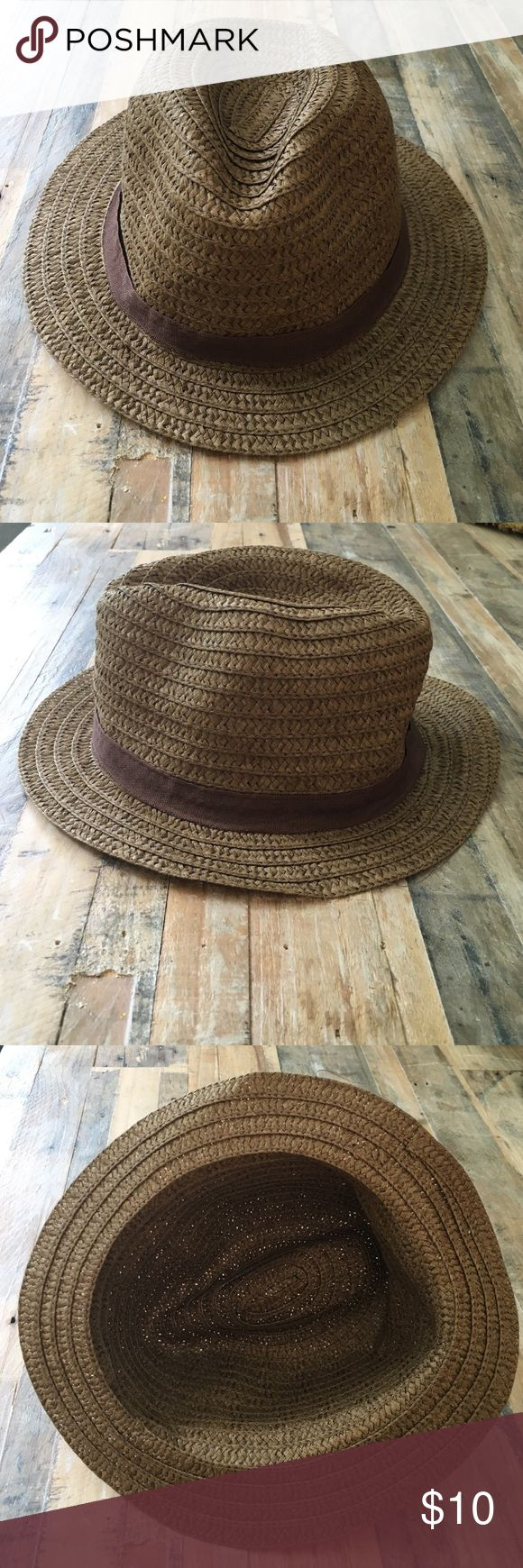 Brown fedora Brown straw fedora with brown ribbon around crown- no tags no size. ✌️ Accessories Hats