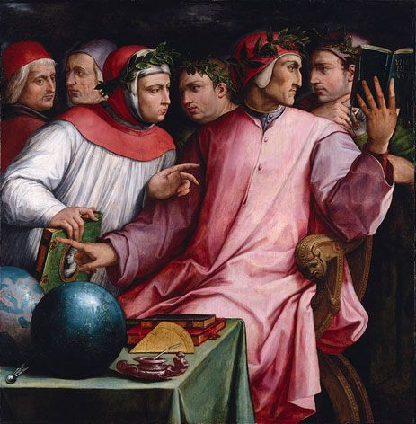6 distinguished poets and philosophers of the 13th and 14th cent engaged in a conversation. Each helped establish the Tuscan dialect as the standard language in Italy.The seated figure is Dante Alighieri (1265-1321), author of the Divine Comedy. Facing him is Guido Cavalcanti (about 1255-1300), acclaimed for his love sonnets. The standing figure in clerical garb is the hu...
