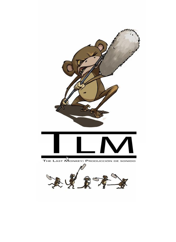 Logotipo de la empresa de sonido de cine TLM. The Last Monkey. http://tlm-thelastmonkey.com/