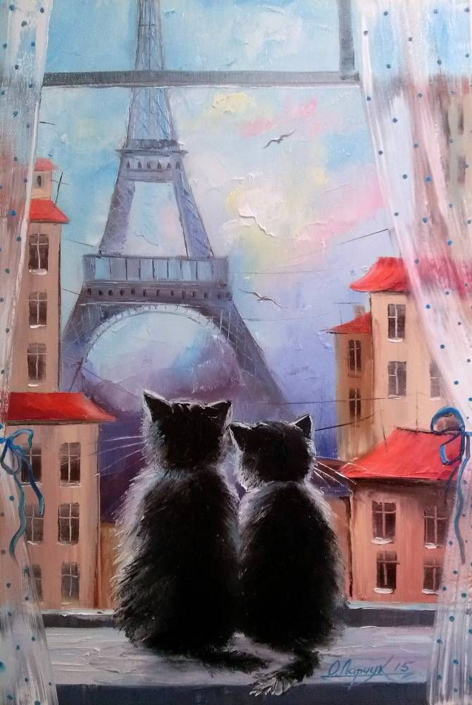 Картины (живопись) : Парижане. Автор Ольга Вячеславовна Дарчук