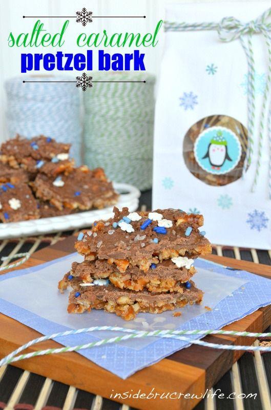 Salted Caramel Pretzel Bark - pretzels mixed with melted caramel Hershey kisses