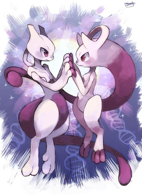 Mewtwo and it's new form.(Yes,it is a new form,go to the pokemon website and see for yourself.)
