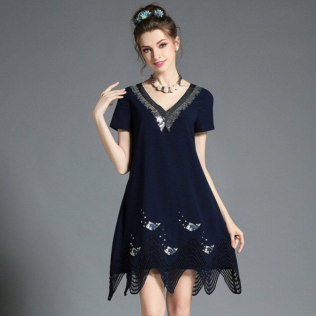 Plus Size Women Clothing Embellished Sequined V Neck Short Sleeve Crochet Hem Loose Fit Summer Day Dress l-5xl