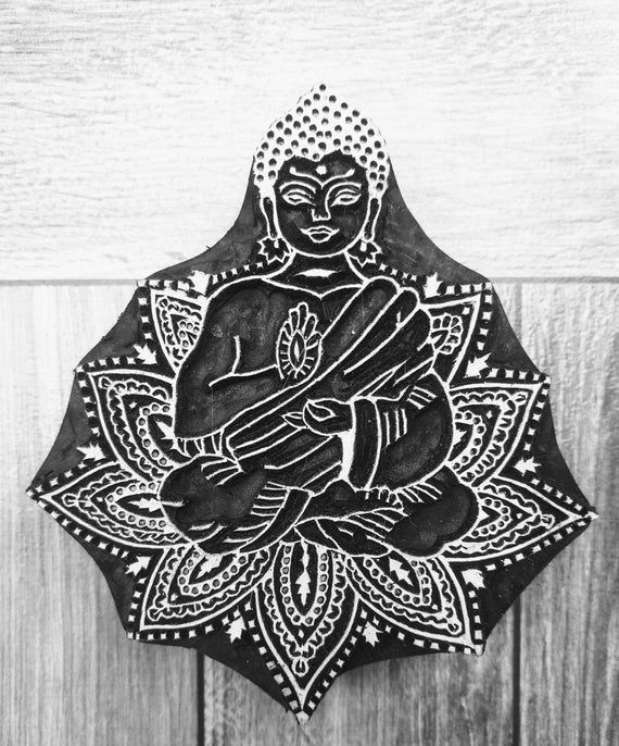Yoga Fabric Stamp Meditation Wood Stamp Hand Carved Stamp Traditional Wooden Stamp Indian Textile Block For Printing Hand Carve Soap Stamp