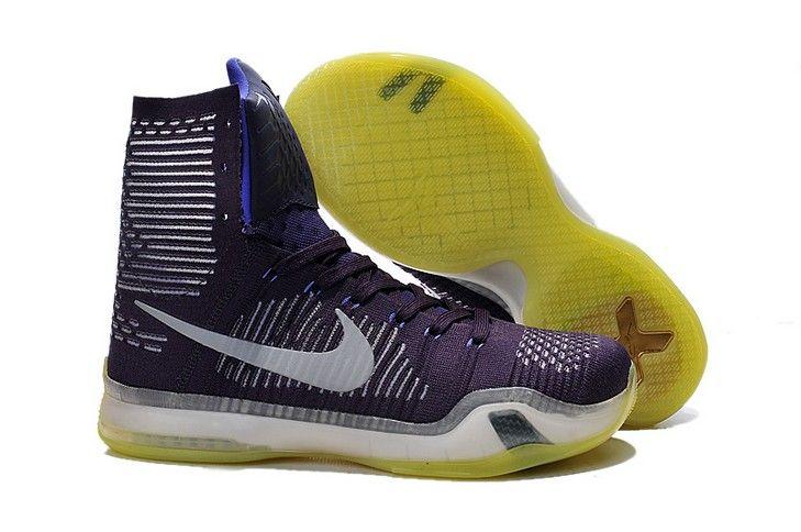 "Nike Kobe 10 Elite ""Team Ignite"" Purple High Tops Shoes"