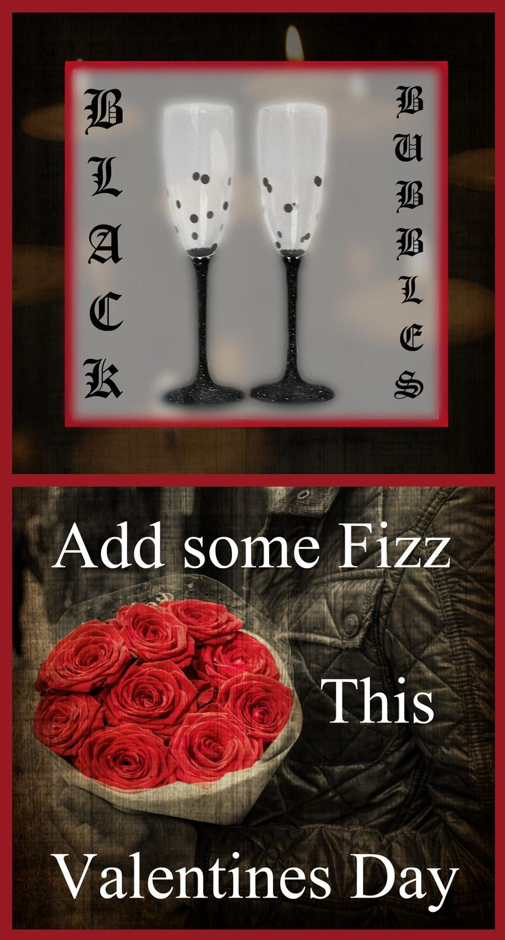 Gothic Prosecco Glasses.  This set of 2 glitter Champagne flutes work excellently with gothic home decor and make a fantastic gothic valentines gift idea.  These stylish toasting flutes are great for weddings, birthdays and anniversaries and are a brilliant gift idea for your girlfriend and wife. #girlfriendanniversarygifts