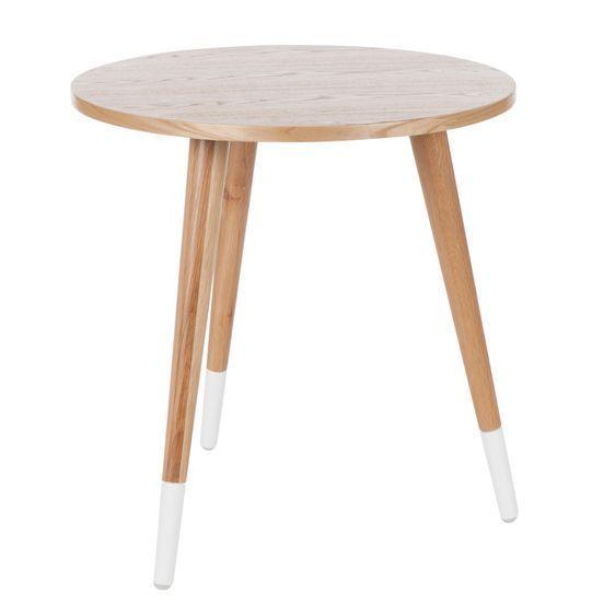 NEW Zanui Hugo Round Oak Side Table, White