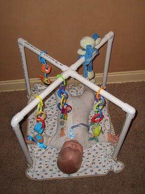 Engaging Truth: Instructions to Make a Baby Gym for less than $13.00.  I'm sure if you covered the pvc with cloth it would be even cuter