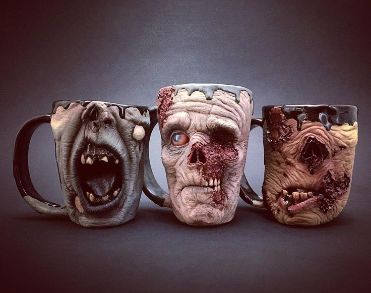 Zombie mugs...all done...just in time for...Thanksgiving!                                                                                                                                                                                 More
