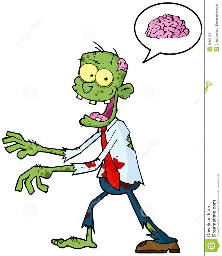 Cute Zombie Cartoon | Cartoon Zombie Walking With Hands In Front And Speech Bubble With ...