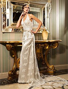 Sheath/Column Halter Court Train Lace And Stretch Satin Wedding Dress (632805)