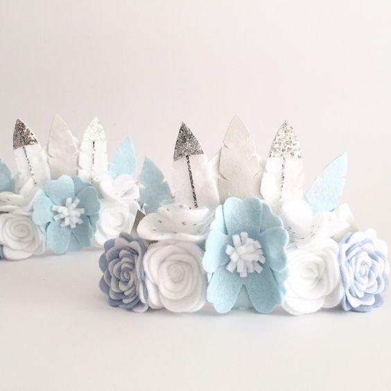Pastel blue love felt feather flower crown: