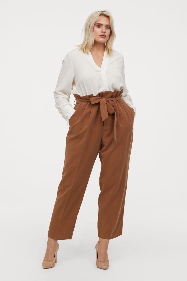 d76c2f13dd H M+ Paper-bag Pants - Brown - Ladies