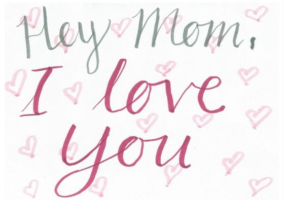 Mothers Day Cards | Hey mom, I love you | Hearts | Pink | Grey | Red | White | under $1 | Printable | Digital card