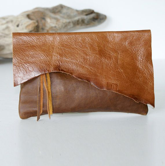 Raw Edge Leather Bag - Leather Clutch - Brown Leather - Burnt Caramel Leather - Womens Handmade Handbags - One of a Kind Leather Purse