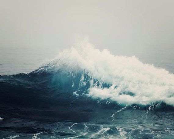"Dark Stormy Sea Wave, Ocean Art, Nautical Decor, Navy Blue,  Ocean Photograph, Surf, Dark Blue Ocean Decor,  ""Sea Storm"""