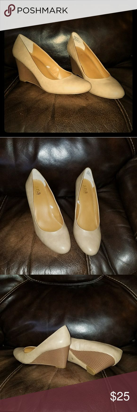 Nude pump wedges! New size 9 New and unworn! Only tried on and kept in the closet. Women's size 9. Beautiful nude pumps with a wedge! 3 1/2 inch heel. a.n.a Shoes Wedges