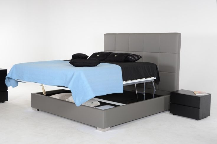 Best Messina Modern Grey Eco Leather Bed W Lift Storage Bed 400 x 300