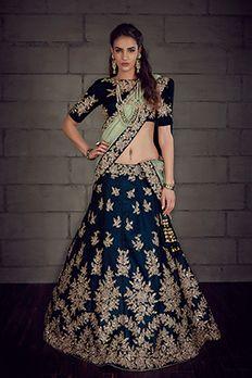 Velvet lehenga choli and net dupatta embellished with heavy zardosi work by #Benzer #Benzerworld #Lehenga #BridalWear #IndianBride #GhagraCholi #BridalLehenga