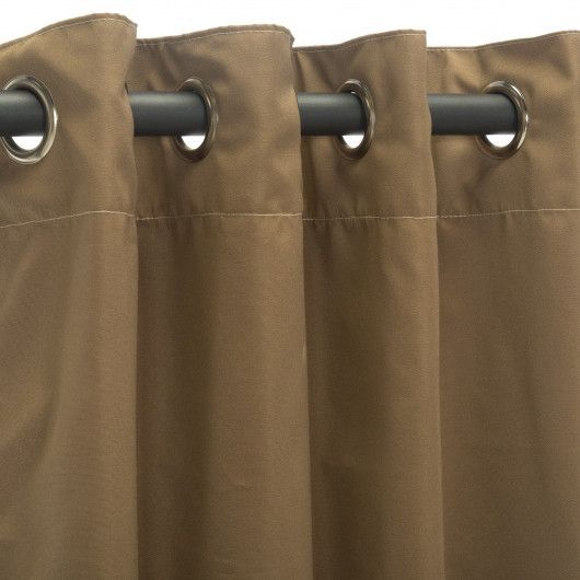 Canvas Cocoa Sunbrella Outdoor Curtains Grommets