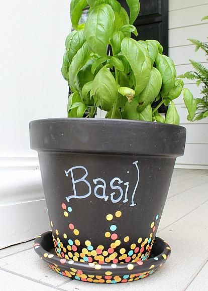 Confetti Dot Terra Cotta Pot Done With Patio Paints. A Perfect Project For  The Kids