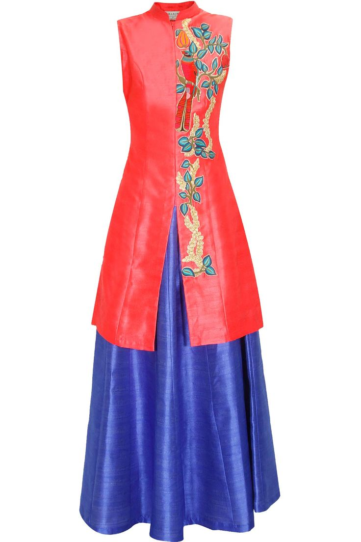 Coral bird embroidered long achkan jacket with blue skirt lehenga available only at Pernia's Pop Up Shop.#perniaspopupshop #shopnow #aharin #clothing #festive #newcollection