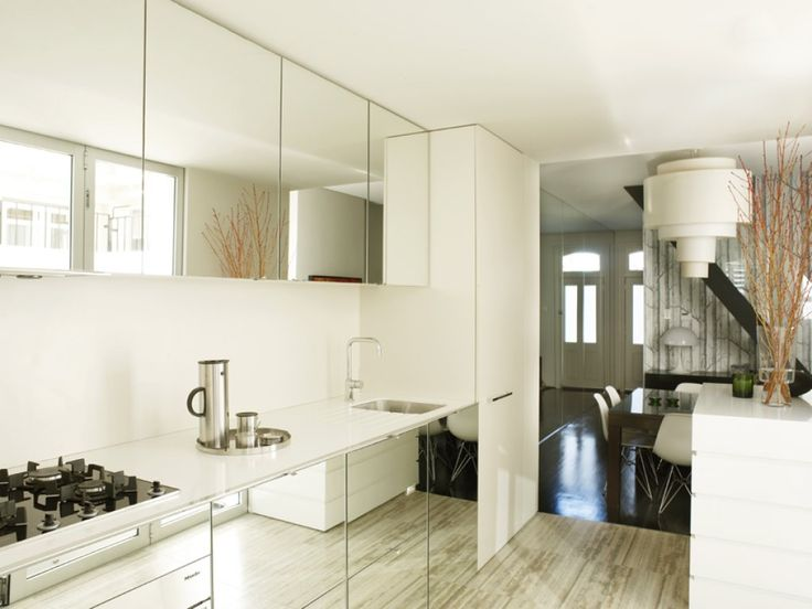 Flush mirrored cabinets in kitchen Greg Natale   Sydney based architects  and interior designers7 best mirrored kitchen images on Pinterest   Kitchen cabinets  . Mirrored Kitchen Cabinets. Home Design Ideas