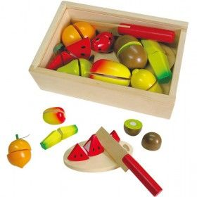 Fun Factory - Wooden Play Food Fruit Cutting Set  #entropywishlist #pintowin  A safer (and less messy) way for Chloe to copy mummy
