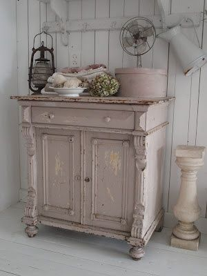 shabby chic. taupe white over a cream? This would make an awesome vanity