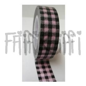 Taśma Washi - Black and Pink Plaid