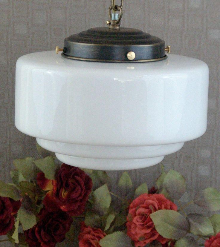 Jugendstil Deckenlampe Leuchte Hngelampe Glas Messing Lampe Antik Art Deco In Mbel Wohnen Beleuchtung