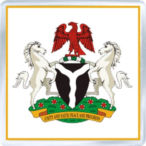 $3.29 - Acrylic Fridge Magnet: Nigeria. Coat of Arms of Nigeria