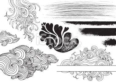 Vague, Griffonnage, Encadrement, Dessin, Encre Illustration vectorielle libre de droits