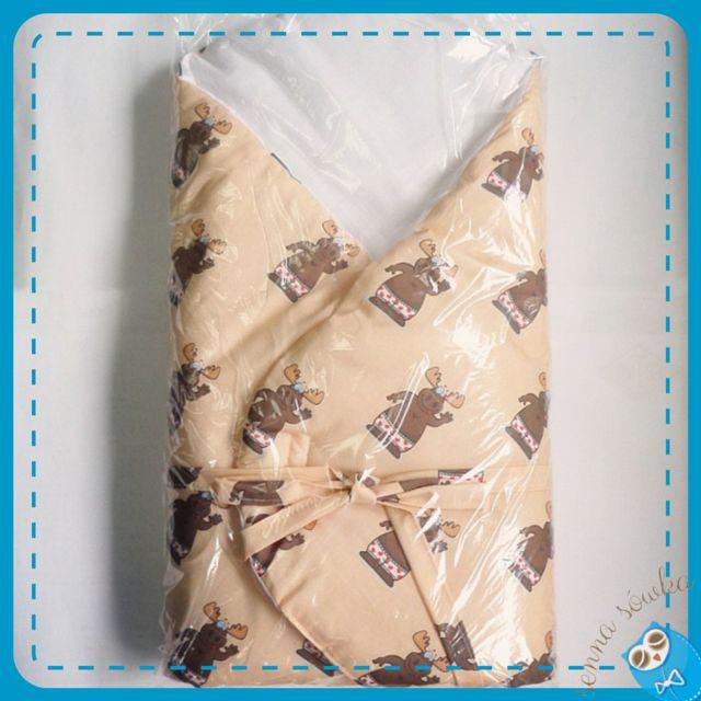 Śliczny rożek z materiału w sympatyczne łosie według życzenia klientki, wykonanego dzięki Cotton Bee.