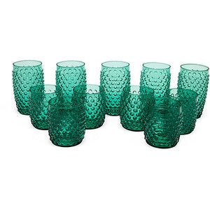 .: Textured Drinking, Teal Color, Vintage Drinking, 11 Vintage, Vintage Glassware, Teal Drinking, Vintage Glasses, Vintage Teal Turquoise Aqua