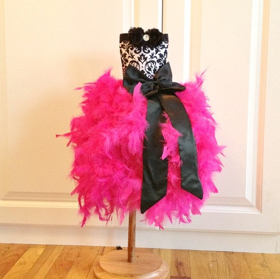 Feather Tutu Dress Feather Dress Feather Party Toddler Tutu Dress Shabby Chic - Damask / Hot Pink Feather Birthday Vintage Dress. $115.00, via Etsy.