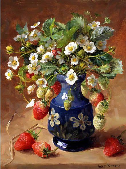 Клубника - пустой картой или день рождения Энн Cotterill цветок искусства