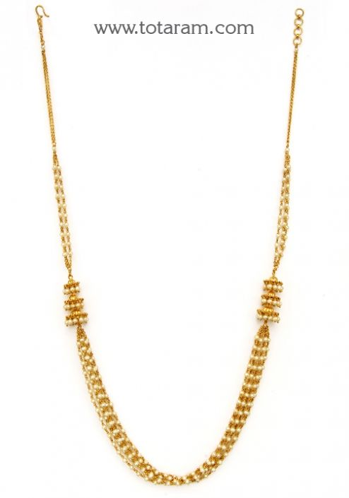 22K Gold Necklace with Pearls: Totaram Jewelers: Buy Indian Gold jewelry & 18K Diamond jewelry
