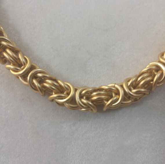 Cadena de oro bizantino Maille collar resistente al deslustre