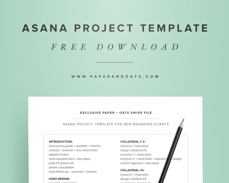 Free download – Asana project template from Paper + Oats