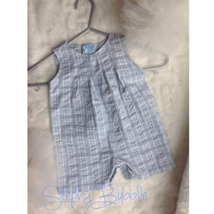 Handmade Baby Boy Blue Checked Romper 0-3 months by StephyBubble on Etsy https://www.etsy.com/listing/229644230/handmade-baby-boy-blue-checked-romper-0
