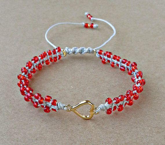 Red Seed Bead Heart Bracelet Valentines Day Bracelet Tiny