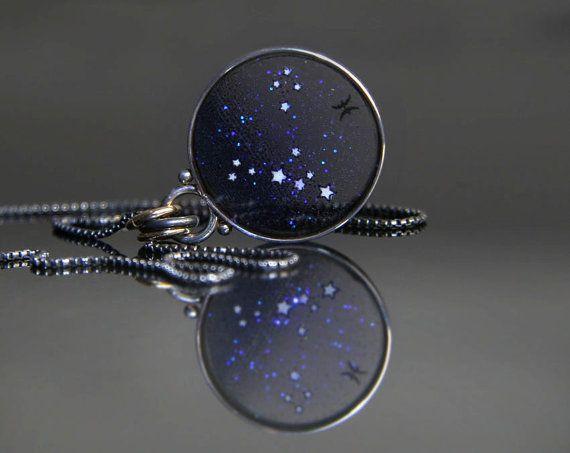 Pisces Constellation Necklace, Pisces Plique a Jour Pendant, Pisces Star Necklace