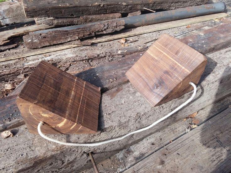 Diy wheel chocks made from old railroad ties diy rv diy
