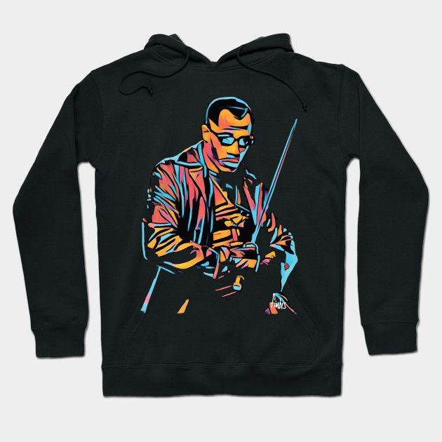 Daywalker hoodie by Fimbis   ------------------------  Blade, Vampires, Wesley Snipes, Comic book heroes, illustration, anti hero, neon,