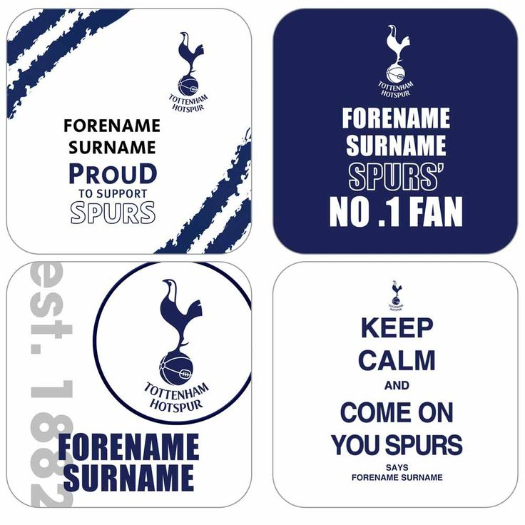 I Just Love It Personalised Tottenham Hotspur Coasters - 4 Pack Personalised Tottenham Hotspur Coasters - 4 Pack - Gift Details. With four different designs our Personalised Tottenham Hotspur Coasters will make a bold statement in any Spurs fans home! Each one di http://www.MightGet.com/january-2017-11/i-just-love-it-personalised-tottenham-hotspur-coasters--4-pack.asp